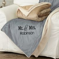 Mr. and Mrs. 50-Inch x 60-Inch Embroidered Sherpa Blanket