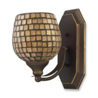 ELK Lighting Vanity 1-Light Vanity Fixture in Aged Bronze and Gold Mosaic Glass