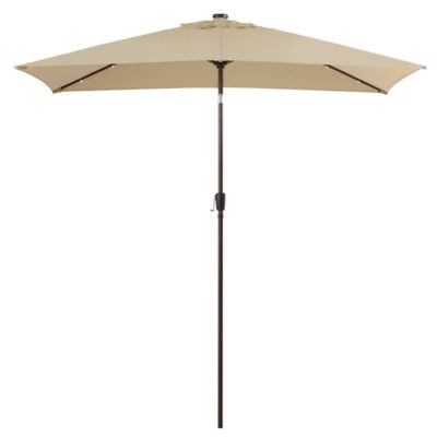 11 Foot Rectangular Solar Aluminum Patio Umbrella In Natural