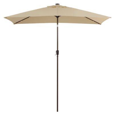 11 Foot Rectangular Solar Aluminum Patio Umbrella In Natural