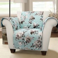 Tania Floral Arm Chair Protector in Blue