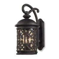 ELK Lighting Tuscany Coast 2-Light Outdoor Sconce In Weathered Charcoal And Clear Seeded Glass