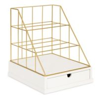 Kate and Laurel® Benbrook Letter Tray Organizer in White and Gold