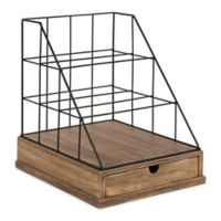 Kate and Laurel® Benbrook Letter Tray Organizer in Brown and Black