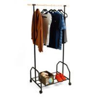 Mind Reader Rolling Garment Rack with Bottom Shelf