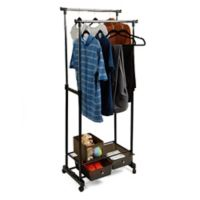 Mind Reader Double Garment Rack with Bottom Drawers