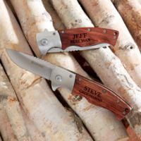 Sarge Groomsman Wooden Handle Folding Knife