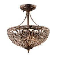 ELK Lighting Elizabethan 3-Light Semi Flush Mount in Dark Bronze