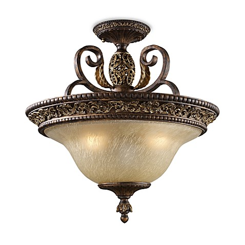ELK Lighting Regency Semi Flush 3-Light Fixture in Burnt Bronze