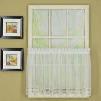 Chandelier Macrame Voile 24-Inch Kitchen Window Tier Pair in White