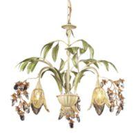ELK Lighting Huarco 3-Light Blossom Chandelier in Seashell and Amber Glass
