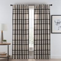 Wool Plaid 108-Inch Pinch Pleat/Back Tab Room Darkening Window Curtain Panel in Natural