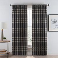 Wool Plaid 63-Inch Pinch Pleat/Back Tab Room Darkening Window Curtain Panel in Grey
