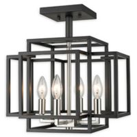 Filament Design Geometric 4-Light Semi-Flush Mount Light in Black/Brushed Nickel