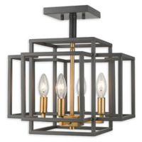 Filament Design Geometric 4-Light Semi-Flush Mount Light in Bronze/Old Brass