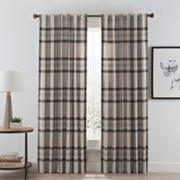 Wool Plaid 84-Inch Rod Pocket/Back Tab Room Darkening Window Curtain Panel in Natural