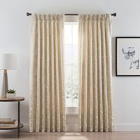 Acanthus 84-Inch Pinch Pleat/Back Tab Room Darkening Window Curtain Panel in Champagne