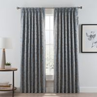 Acanthus 84-Inch Pinch Pleat/Back Tab Room Darkening Window Curtain Panel in River
