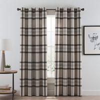 Wool Plaid 84-Inch Grommet Room Darkening Window Curtain Panel in Natural