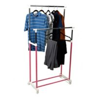 Mind Reader Double Rolling Garment Rack in Pink