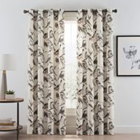 Birdwatcher 108-Inch Grommet Window Curtain Panel in Noire