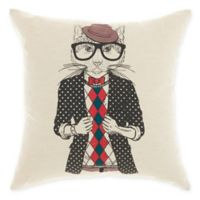 Mina Victory By Nourison Trendy Cat Square Throw Pillow in Natural