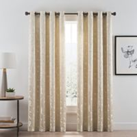 Acanthus 108-Inch Grommet Room Darkening Window Curtain Panel in Champagne