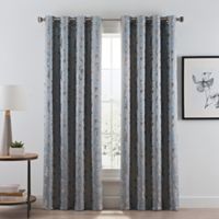 Acanthus 95-Inch Grommet Room Darkening Window Curtain Panel in River