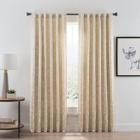 Acanthus 108-Inch Rod Pocket/Back Tab Room Darkening Window Curtain Panel in Champagne