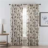Birdwatcher 108-Inch Pinch Pleat Window Curtain Panel in Noire