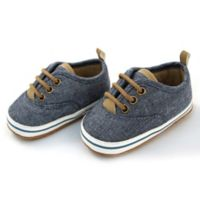 Rising Star™ Size 3-6M Chambray Lace-Up Sneaker in Blue