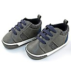 Rising Star Size 6-9M Faux Suede Textured Sneaker in Grey/Navy