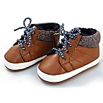 Rising Star Size 3-6M Marled Knit Lace Up Boot in Brown