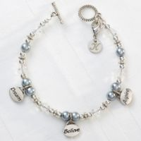 Silvertone Dream, Believe, Aspire 7.5-Inch Charm Bracelet
