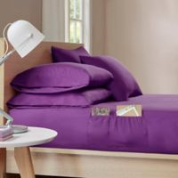 Intelligent Design Microfiber Twin XL Sheet Set with Pocket in Purple