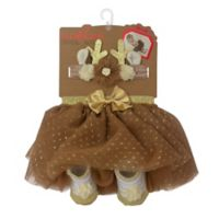 Elly & Emma Size 0-6M 3-Piece Fancy Tutu, Headband, and Bootie Set in Brown