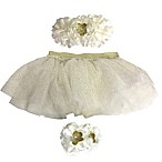 Toby™ Size 0-12M 3-Piece Glitter Diaper Cover, Headband, and Footwrap Set in Ivory
