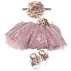 Toby™ Size 0-12M 3-Piece Sequin Tutu, Headband, and Footwrap Set in Rose Gold