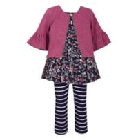 Bonnie Baby Size 3T 3-Piece Cardigan, Dress and Pant Set in Burgundy