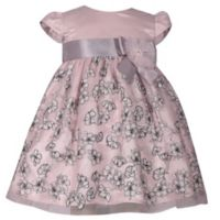 Bonnie Baby Size 18M Cap Sleeve Dress with Ribbon in Blush/Grey