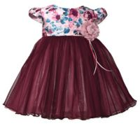 Bonnie Baby Size 12M Floral Cap Sleeve Dress in Burgundy