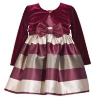 Bonnie Baby Size 3T 2-Piece Striped Dress and Cardigan Set in Burgundy