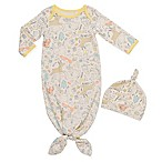 Baby Starters® Size 0-6M 2-Piece Animal Knot Gown and Hat Set