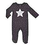 Baby Starters® Size 9M Star Footie in Black/Grey