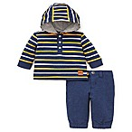 Offspring Size 3M 2-Piece Hooded Shirt and Pant Set in Navy/Yellow