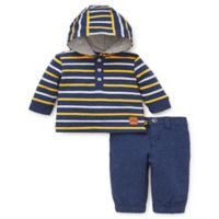 Offspring Size 6M 2-Piece Hooded Shirt and Pant Set in Navy/Yellow