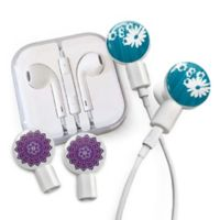 dekaSlides Daisy and Mandala Slides with In-Ear Headphones in Blue/Purple