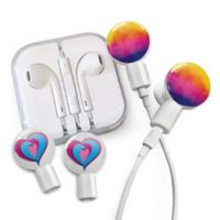 dekaSlides Watercolor Sunset and Tri-Heart Slides with In-Ear Headphones in White