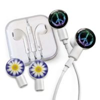 dekaSlides Peace Sign and Daisy Slides with In-Ear Headphones in Purple
