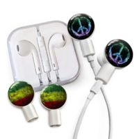 dekaSlides Peace Sign and Rasta Watercolor Slides with In-Ear Headphones in White